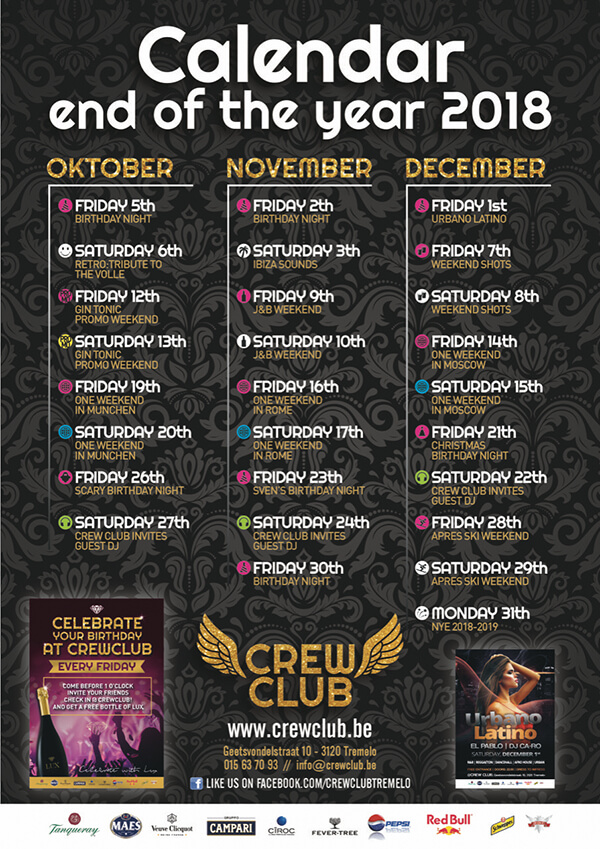 Crew Club End Of The Year Event Calender 2018